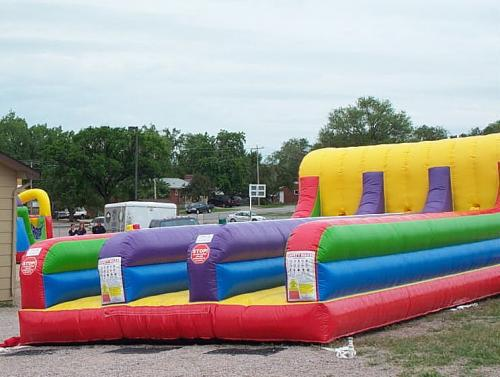 Inflatable Wacky 3-Lane Bungee Run Bounce